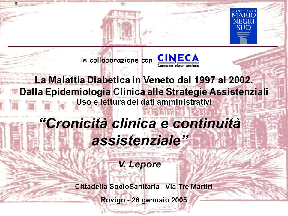 La Malattia Diabetica in Veneto dal 1997 al 2002. Dalla Epidemiologia Clinica alle Strategie Assistenziali Uso e lettura dei dati amministrativi Croni