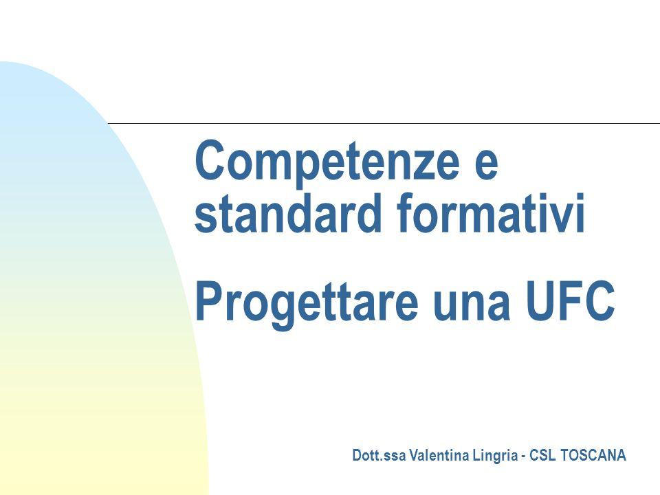 Competenze e standard formativi Progettare una UFC Dott.ssa Valentina Lingria - CSL TOSCANA
