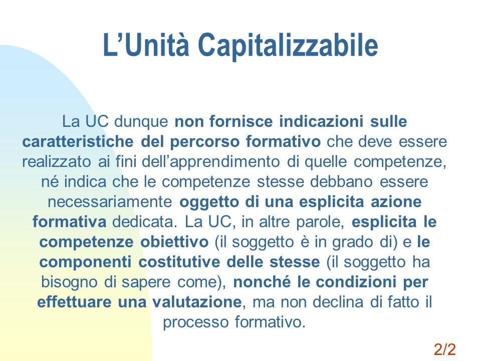LUnità Capitalizzabile La UC dunque non fornisce indicazioni sulle caratteristiche del percorso formativo che deve essere realizzato ai fini dellappre