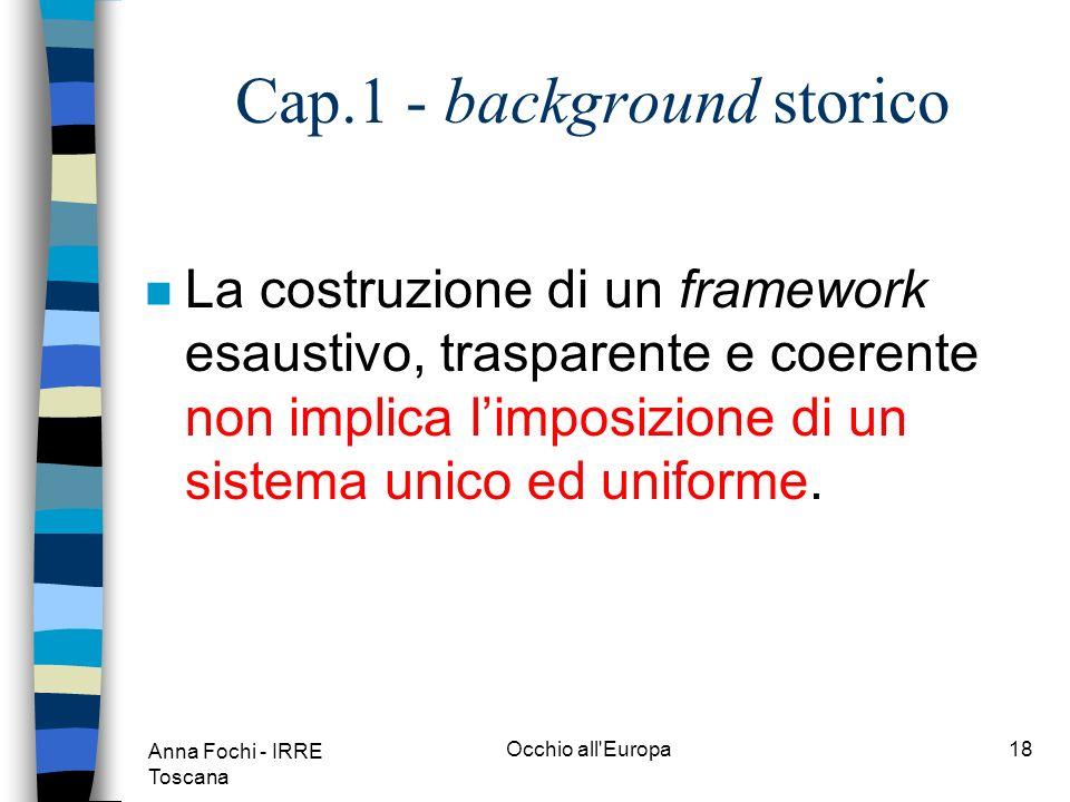 Anna Fochi - IRRE Toscana Occhio all Europa17 Cap.1 - background storico n Per trasparente si intende che linformazione deve essere formulata con la massima chiarezza ed esplicita, disponibile e facilmente leggibile.