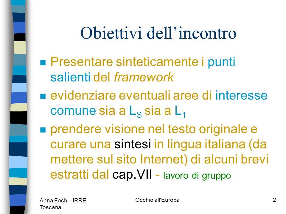 Anna Fochi - IRRE Toscana Occhio all Europa1 Lingue moderne: apprendimento, insegnamento, valutazione Strasburgo 1998 Quadro Cadre Cuadro Framework Rahmen