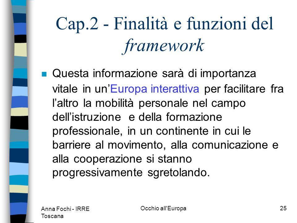 Anna Fochi - IRRE Toscana Occhio all Europa24 Cap.2 - Finalità e funzioni del framework A tal fine il framework deve adempiere a una duplice funzione: n facilitare gli utenti nelle loro scelte; n assisterli nello scambio e condivisione di informazioni grazie a una base comune di riferimento.