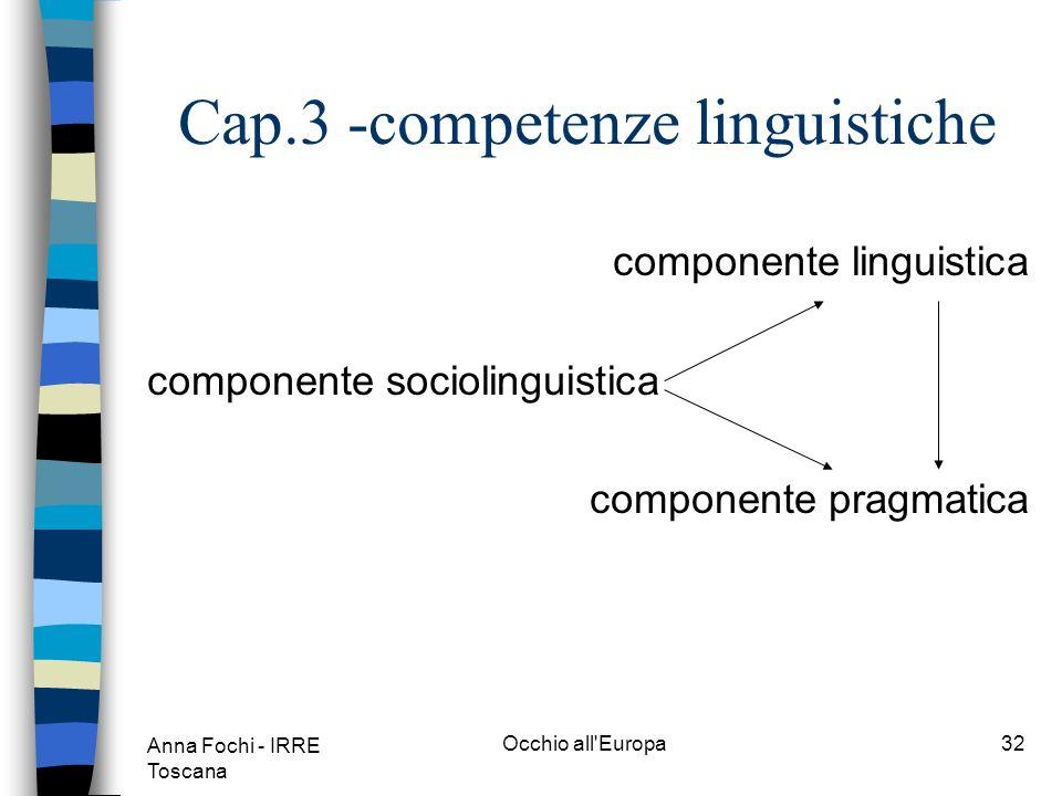 Anna Fochi - IRRE Toscana Occhio all Europa31 Cap.3 -competenze generali n Labilità ad apprendere viene vista dunque come la risultante di vari tipi di competenze.