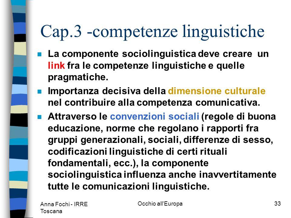 Anna Fochi - IRRE Toscana Occhio all Europa32 Cap.3 -competenze linguistiche componente linguistica componente sociolinguistica componente pragmatica