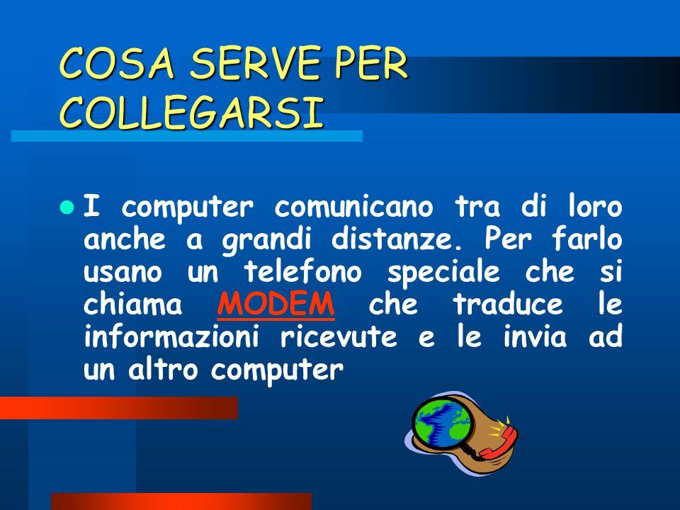 COSA SERVE PER COLLEGARSI I computer comunicano tra di loro anche a grandi distanze.