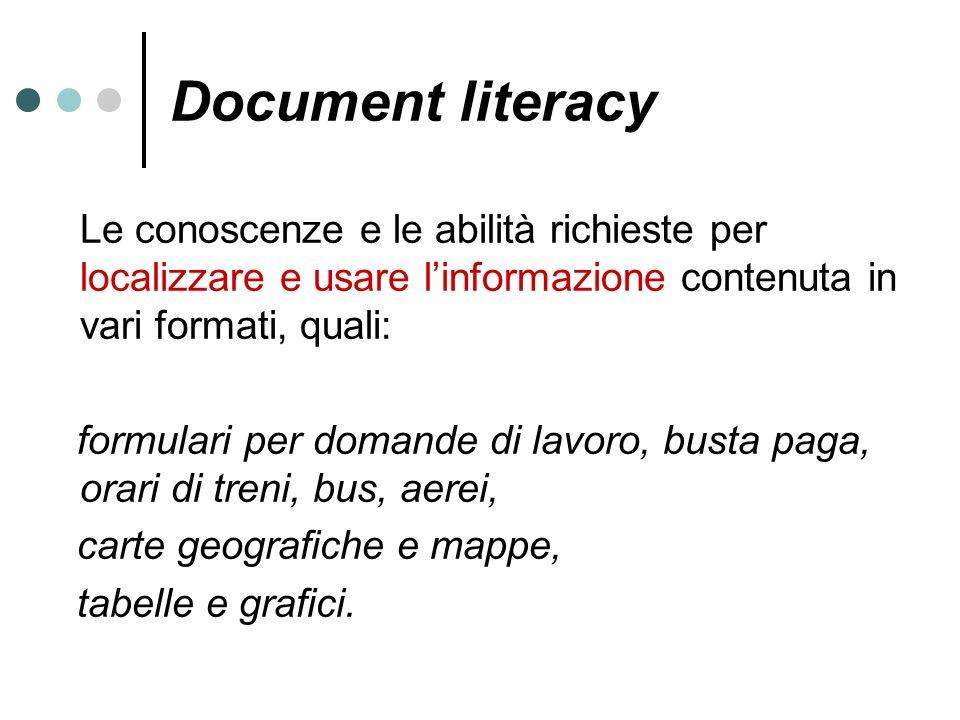 Document literacy Le conoscenze e le abilità richieste per localizzare e usare linformazione contenuta in vari formati, quali: formulari per domande d