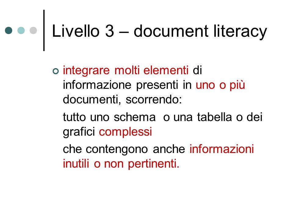 Livello 3 – document literacy integrare molti elementi di informazione presenti in uno o più documenti, scorrendo: tutto uno schema o una tabella o dei grafici complessi che contengono anche informazioni inutili o non pertinenti.
