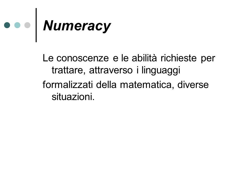 Numeracy Le conoscenze e le abilità richieste per trattare, attraverso i linguaggi formalizzati della matematica, diverse situazioni.