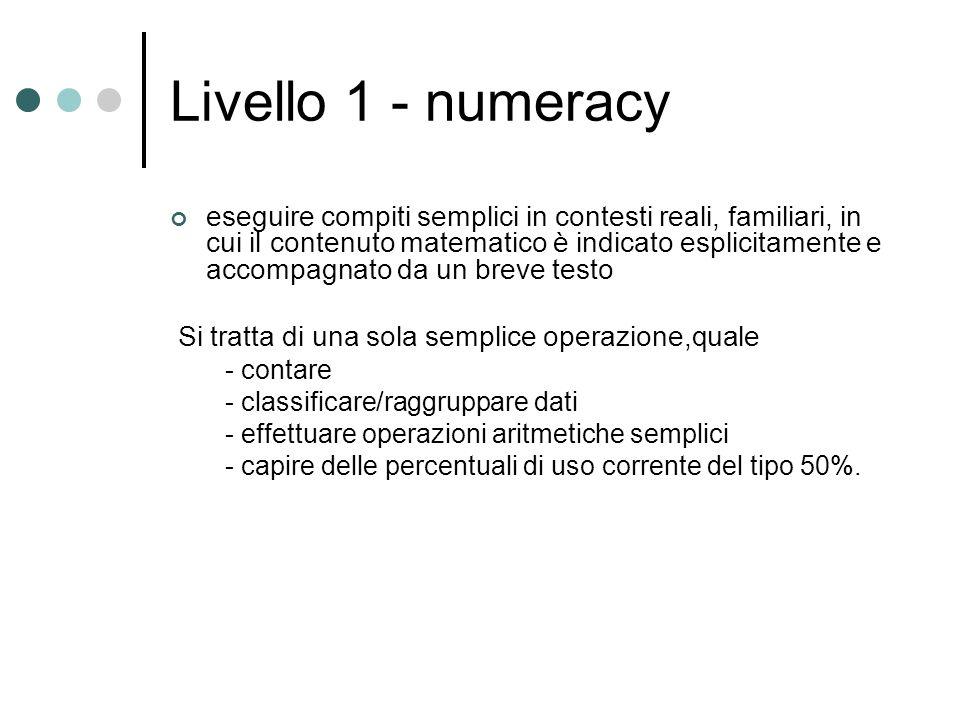 Livello 1 - numeracy eseguire compiti semplici in contesti reali, familiari, in cui il contenuto matematico è indicato esplicitamente e accompagnato d