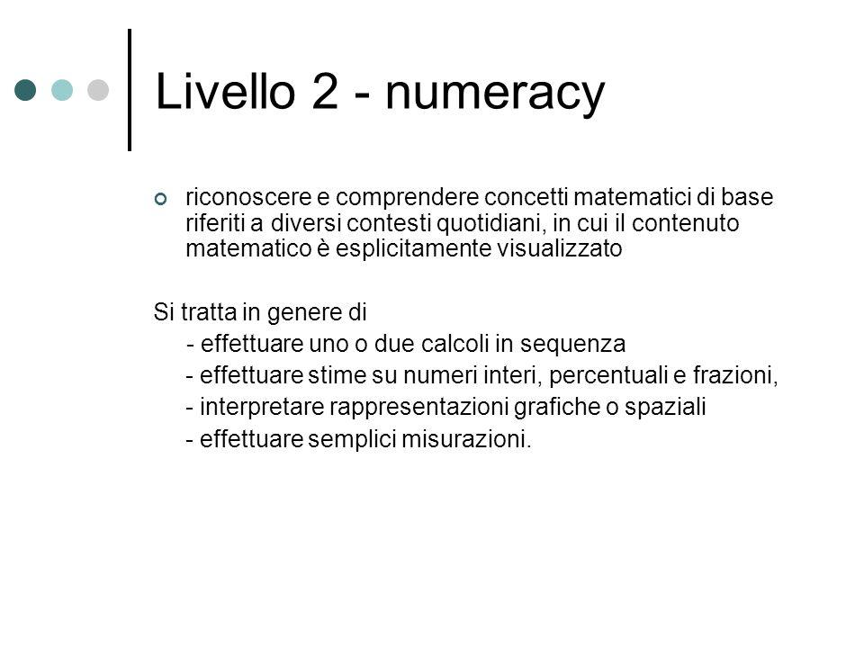 Livello 2 - numeracy riconoscere e comprendere concetti matematici di base riferiti a diversi contesti quotidiani, in cui il contenuto matematico è esplicitamente visualizzato Si tratta in genere di - effettuare uno o due calcoli in sequenza - effettuare stime su numeri interi, percentuali e frazioni, - interpretare rappresentazioni grafiche o spaziali - effettuare semplici misurazioni.