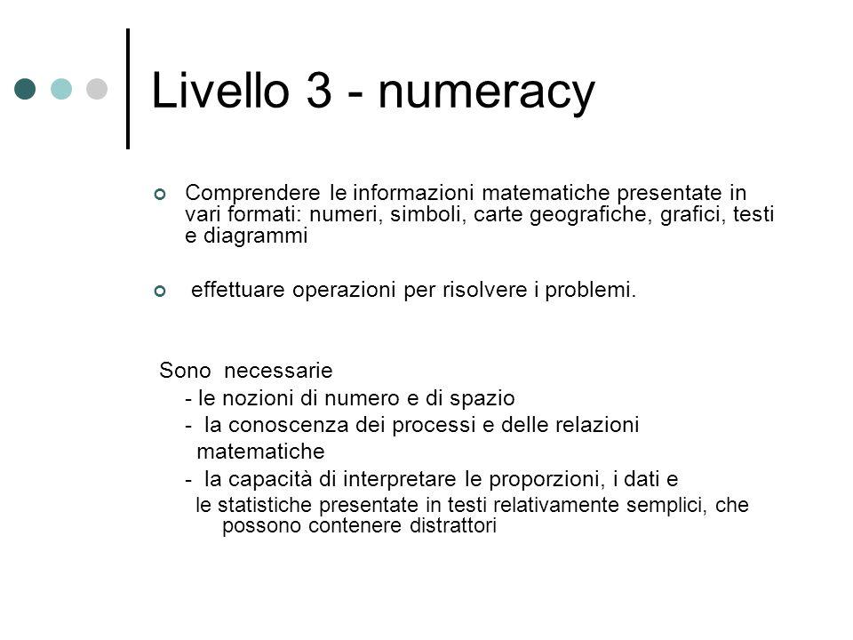 Livello 3 - numeracy Comprendere le informazioni matematiche presentate in vari formati: numeri, simboli, carte geografiche, grafici, testi e diagrammi effettuare operazioni per risolvere i problemi.
