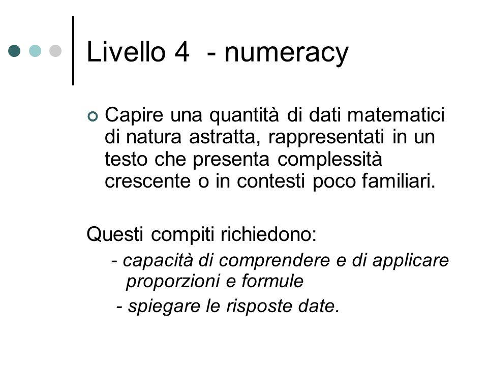 Livello 4 - numeracy Capire una quantità di dati matematici di natura astratta, rappresentati in un testo che presenta complessità crescente o in contesti poco familiari.