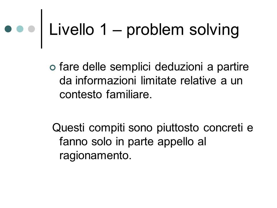 Livello 1 – problem solving fare delle semplici deduzioni a partire da informazioni limitate relative a un contesto familiare. Questi compiti sono piu