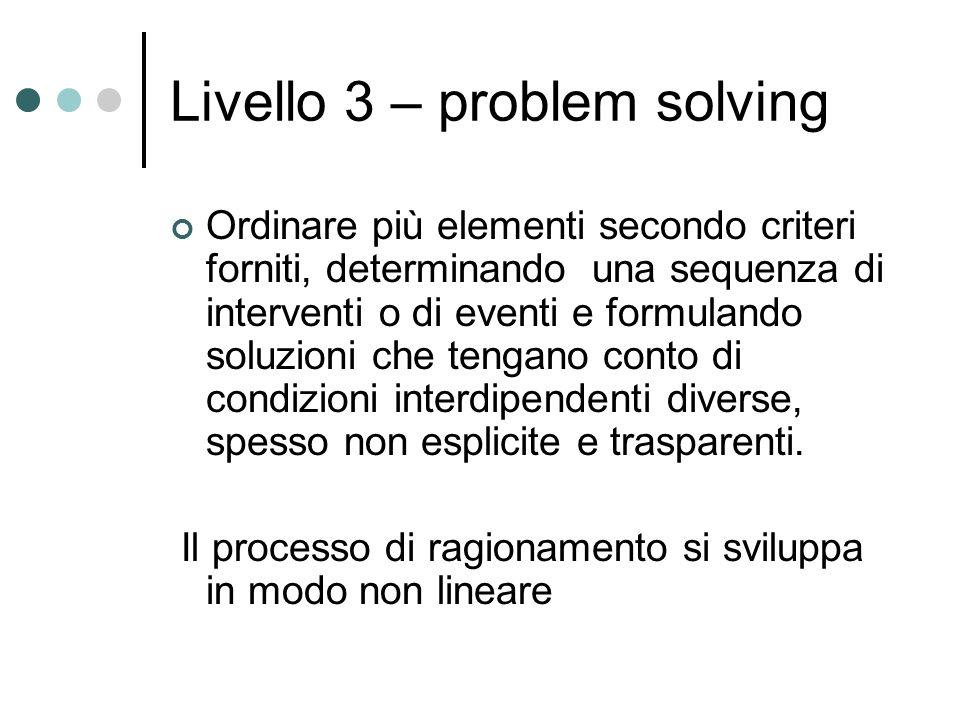 Livello 3 – problem solving Ordinare più elementi secondo criteri forniti, determinando una sequenza di interventi o di eventi e formulando soluzioni che tengano conto di condizioni interdipendenti diverse, spesso non esplicite e trasparenti.
