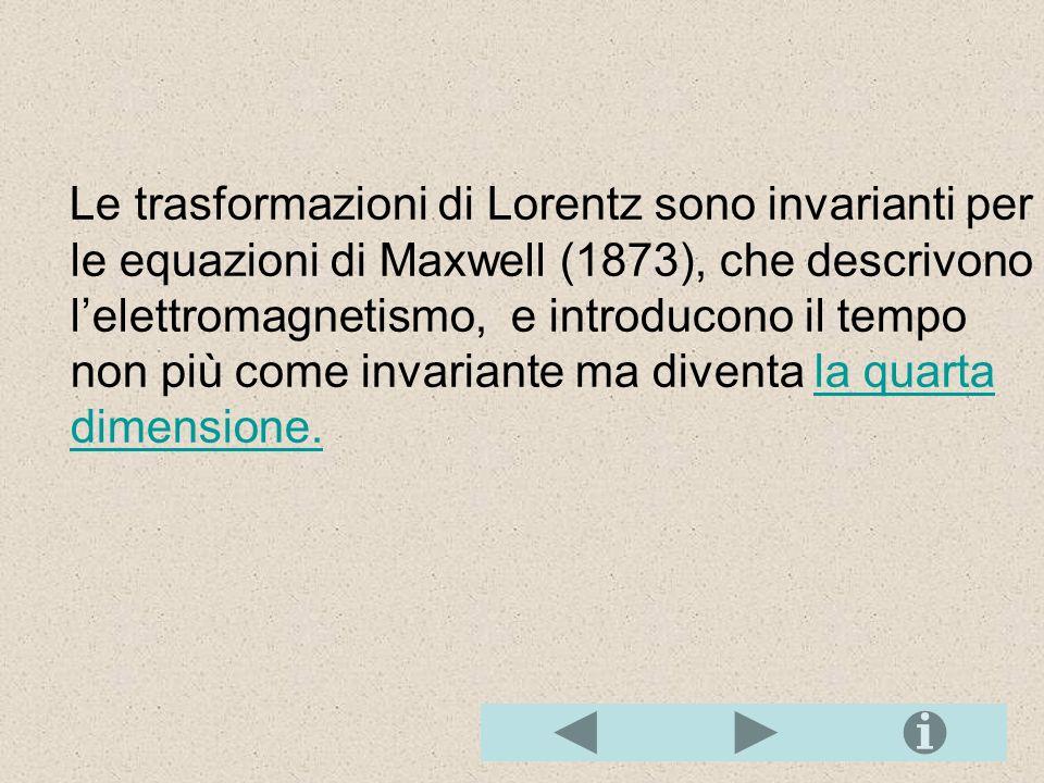 Trasformazioni di Lorentz Le trasformazioni delle coordinate di Lorentz per due sistemi di riferimento inerziali S e S', con S' che si muove con veloc