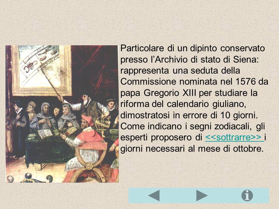 Particolare di un dipinto conservato presso lArchivio di stato di Siena: rappresenta una seduta della Commissione nominata nel 1576 da papa Gregorio XIII per studiare la riforma del calendario giuliano, dimostratosi in errore di 10 giorni.