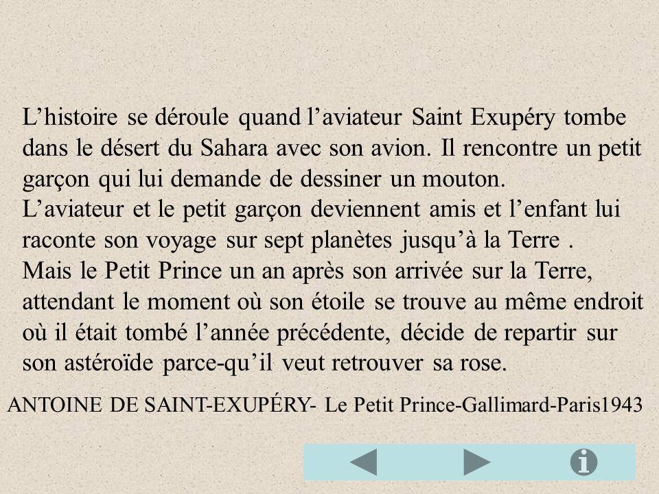 Lhistoire se déroule quand laviateur Saint Exupéry tombe dans le désert du Sahara avec son avion.