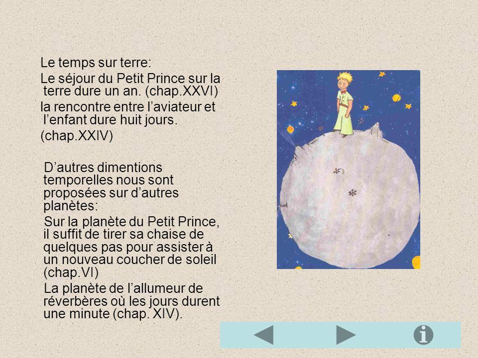 Le temps sur terre: Le séjour du Petit Prince sur la terre dure un an.
