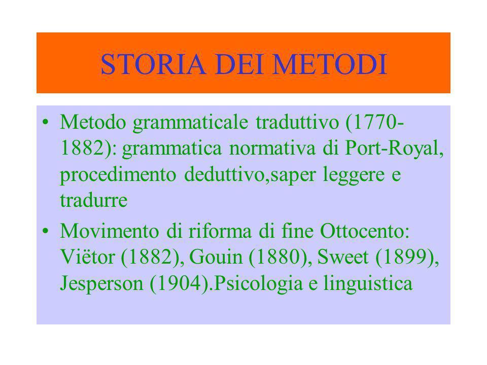 Metodo diretto (primo Novecento): psicologia evolutiva L1=L2, procedimento induttivo,priorità delle abilità orali, insegnamento concreto del vocabolario, crisi verso gli anni venti Metodi naturali: metodi di Berlitz e di Saveur.