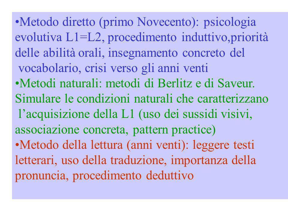 Metodo diretto (primo Novecento): psicologia evolutiva L1=L2, procedimento induttivo,priorità delle abilità orali, insegnamento concreto del vocabolar