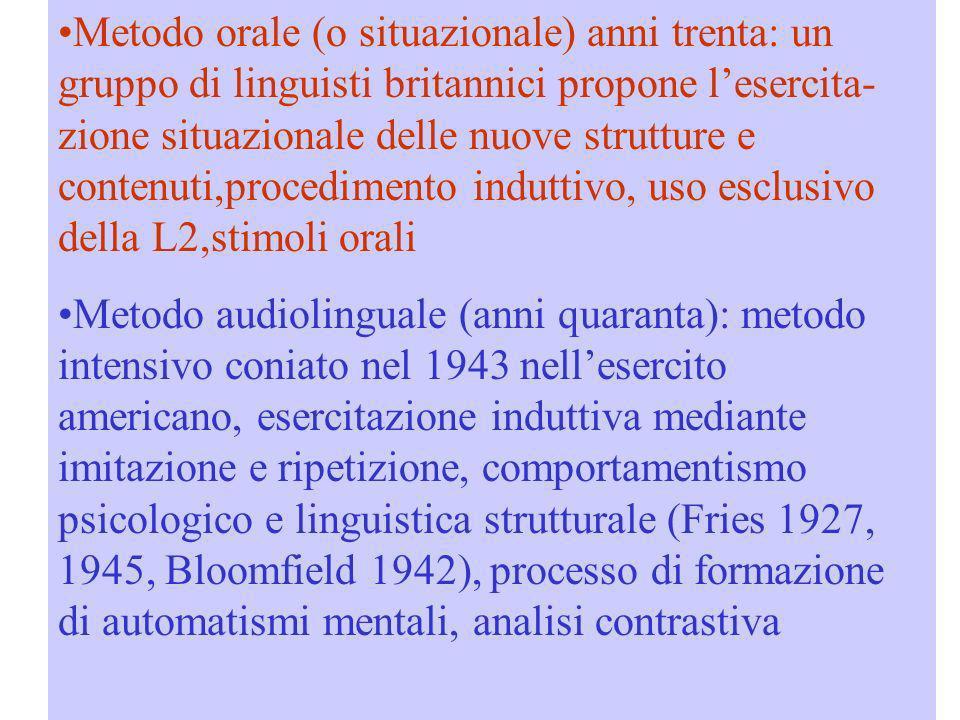 Metodo orale (o situazionale) anni trenta: un gruppo di linguisti britannici propone lesercita- zione situazionale delle nuove strutture e contenuti,p