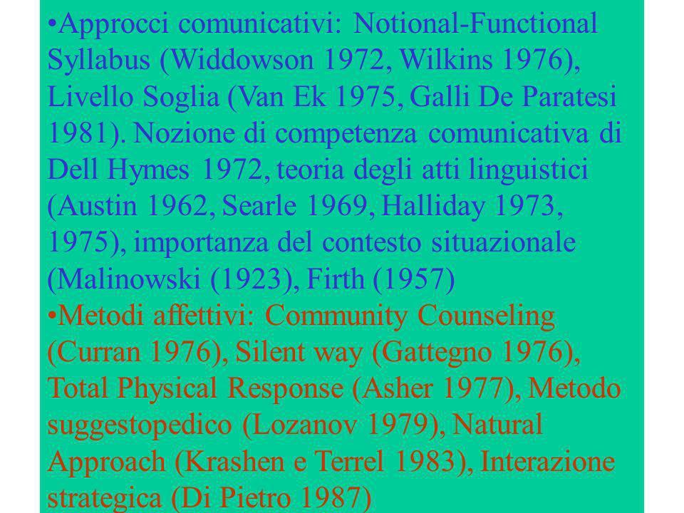 Approcci comunicativi: Notional-Functional Syllabus (Widdowson 1972, Wilkins 1976), Livello Soglia (Van Ek 1975, Galli De Paratesi 1981). Nozione di c