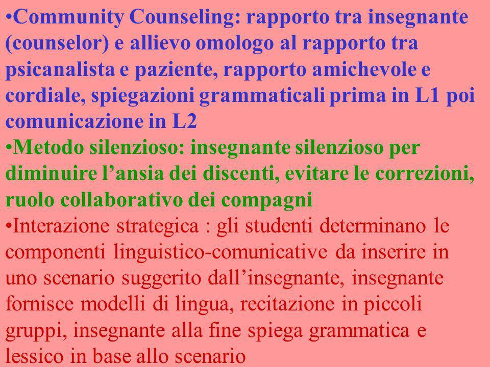 Community Counseling: rapporto tra insegnante (counselor) e allievo omologo al rapporto tra psicanalista e paziente, rapporto amichevole e cordiale, s