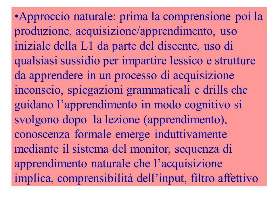Approccio naturale: prima la comprensione poi la produzione, acquisizione/apprendimento, uso iniziale della L1 da parte del discente, uso di qualsiasi