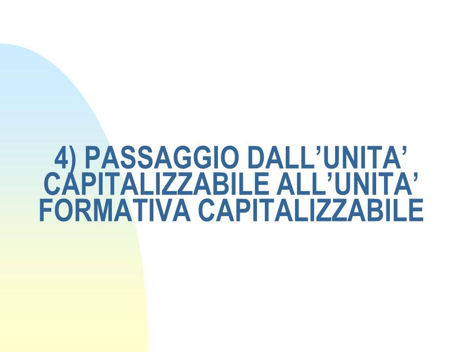 4) PASSAGGIO DALLUNITA CAPITALIZZABILE ALLUNITA FORMATIVA CAPITALIZZABILE