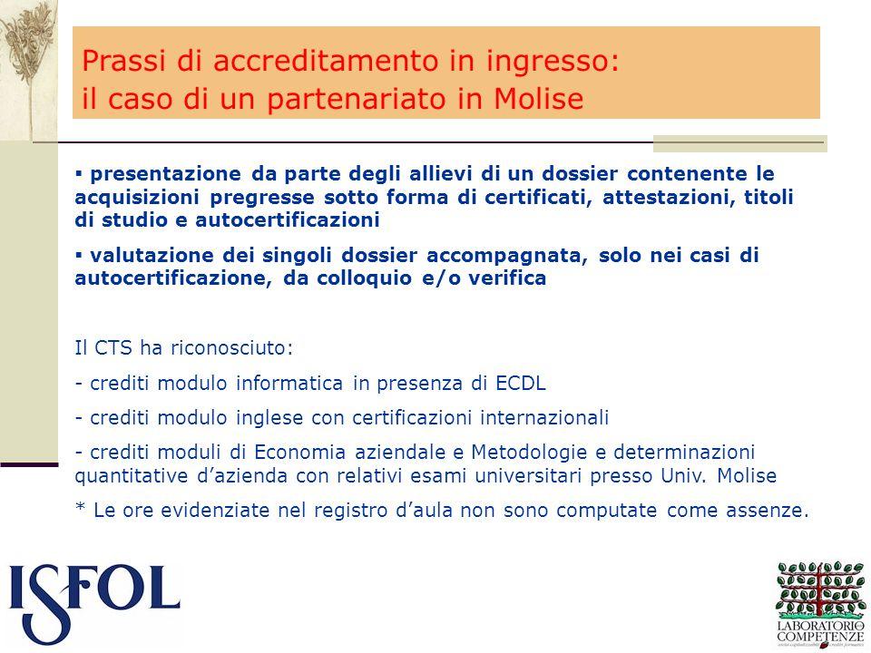 Prassi di accreditamento in ingresso: il caso di un partenariato in Molise presentazione da parte degli allievi di un dossier contenente le acquisizio