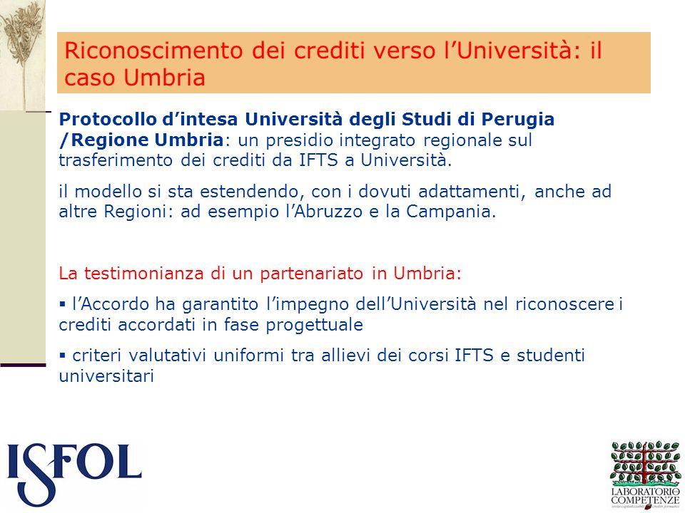 Protocollo dintesa Università degli Studi di Perugia /Regione Umbria: un presidio integrato regionale sul trasferimento dei crediti da IFTS a Universi