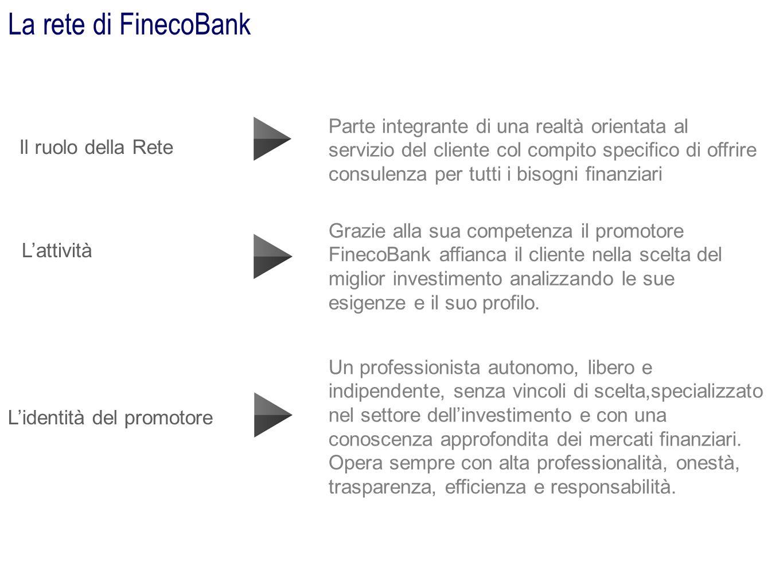 La rete di FinecoBank Il ruolo della Rete Lidentità del promotore Parte integrante di una realtà orientata al servizio del cliente col compito specifi