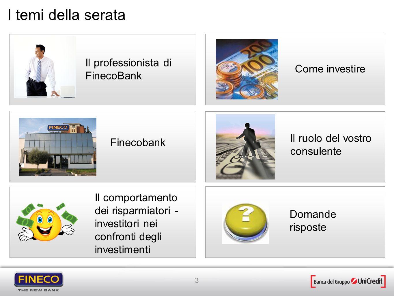 3 Il professionista di FinecoBank Finecobank Il comportamento dei risparmiatori - investitori nei confronti degli investimenti I temi della serata Il