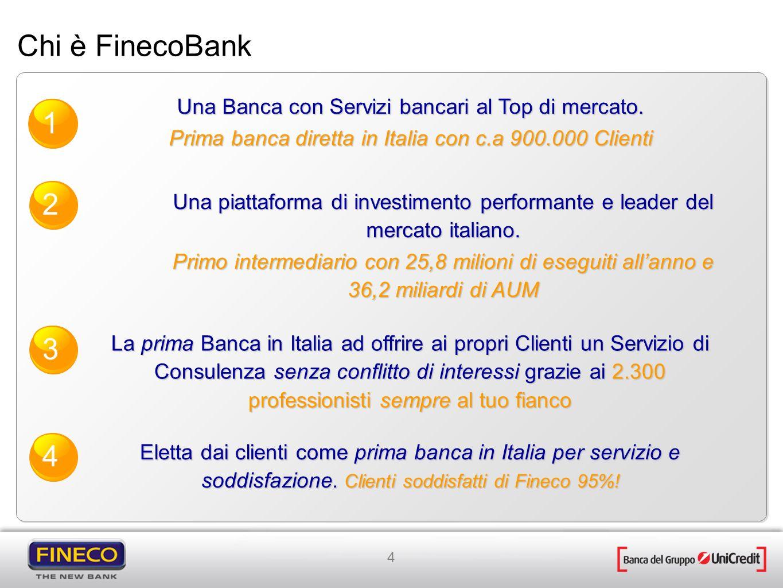 4 La prima Banca in Italia ad offrire ai propri Clienti un Servizio di Consulenza senza conflitto di interessi grazie ai 2.300 professionisti sempre a