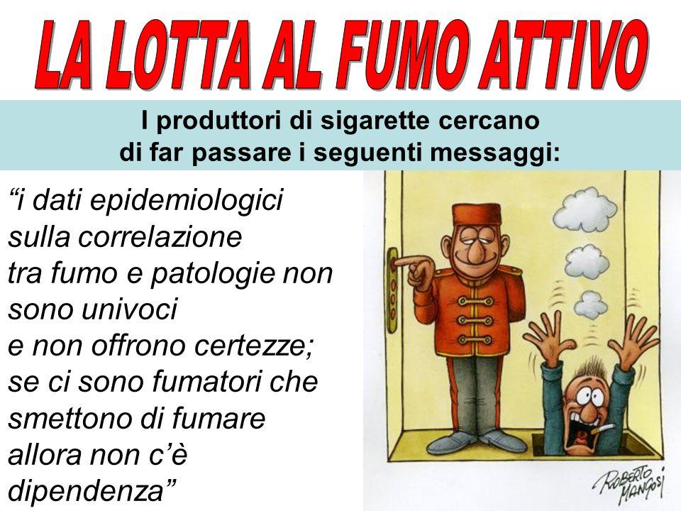 I produttori di sigarette cercano di far passare i seguenti messaggi: i dati epidemiologici sulla correlazione tra fumo e patologie non sono univoci e