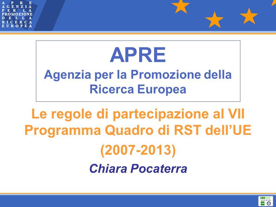 APRE Agenzia per la Promozione della Ricerca Europea Le regole di partecipazione al VII Programma Quadro di RST dellUE (2007-2013) Chiara Pocaterra