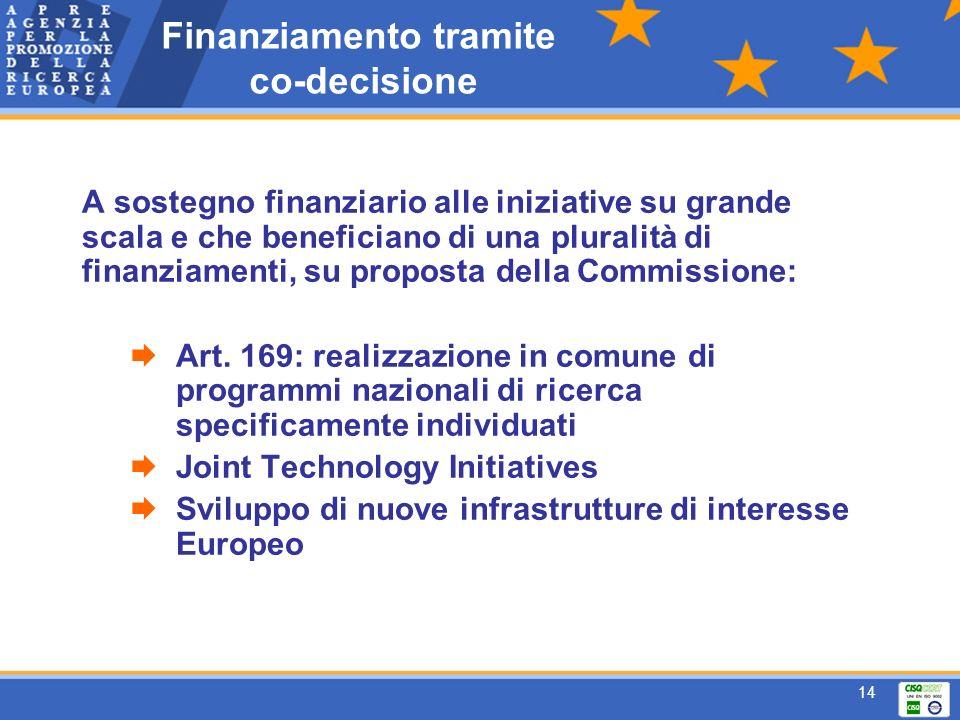 14 A sostegno finanziario alle iniziative su grande scala e che beneficiano di una pluralità di finanziamenti, su proposta della Commissione: Art.