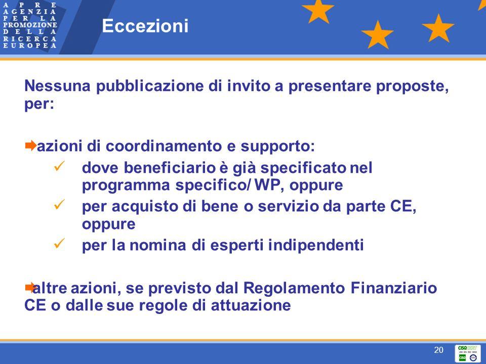 20 Eccezioni Nessuna pubblicazione di invito a presentare proposte, per: azioni di coordinamento e supporto: dove beneficiario è già specificato nel programma specifico/ WP, oppure per acquisto di bene o servizio da parte CE, oppure per la nomina di esperti indipendenti altre azioni, se previsto dal Regolamento Finanziario CE o dalle sue regole di attuazione
