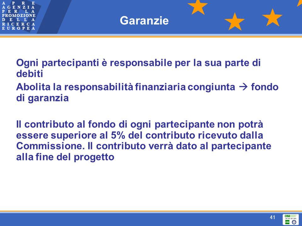 41 Garanzie Ogni partecipanti è responsabile per la sua parte di debiti Abolita la responsabilità finanziaria congiunta fondo di garanzia Il contributo al fondo di ogni partecipante non potrà essere superiore al 5% del contributo ricevuto dalla Commissione.