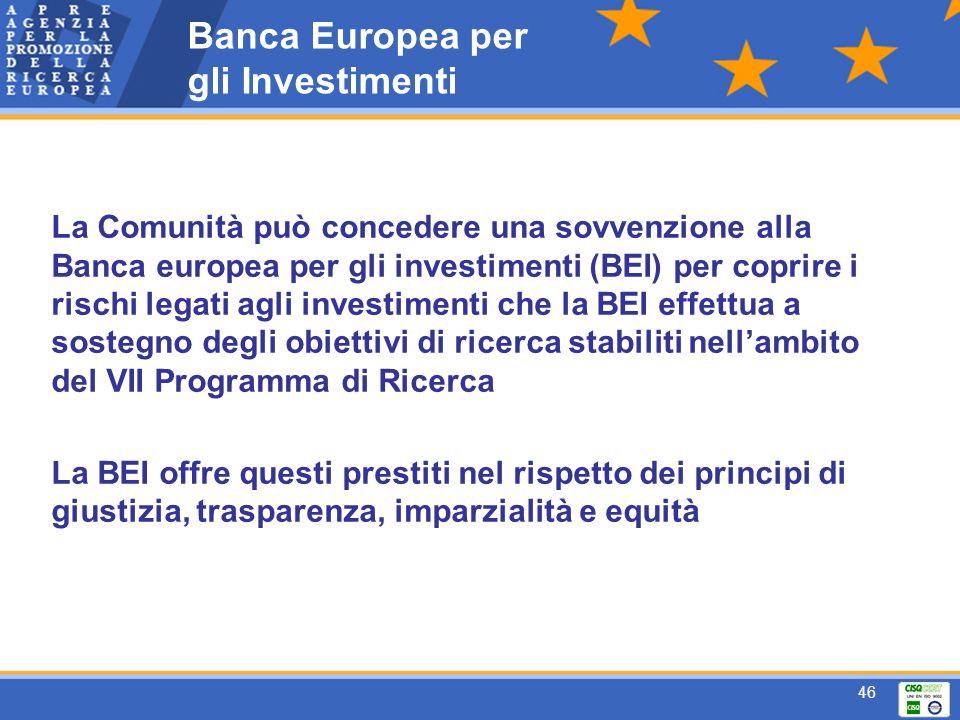 46 Banca Europea per gli Investimenti La Comunità può concedere una sovvenzione alla Banca europea per gli investimenti (BEI) per coprire i rischi legati agli investimenti che la BEI effettua a sostegno degli obiettivi di ricerca stabiliti nellambito del VII Programma di Ricerca La BEI offre questi prestiti nel rispetto dei principi di giustizia, trasparenza, imparzialità e equità