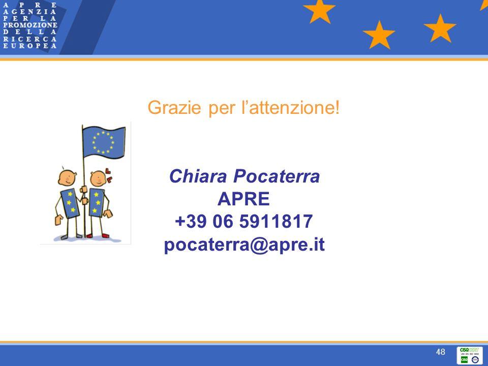 48 Grazie per lattenzione! Chiara Pocaterra APRE +39 06 5911817 pocaterra@apre.it