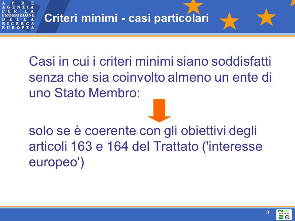 8 Criteri minimi - casi particolari Casi in cui i criteri minimi siano soddisfatti senza che sia coinvolto almeno un ente di uno Stato Membro: solo se è coerente con gli obiettivi degli articoli 163 e 164 del Trattato ( interesse europeo )