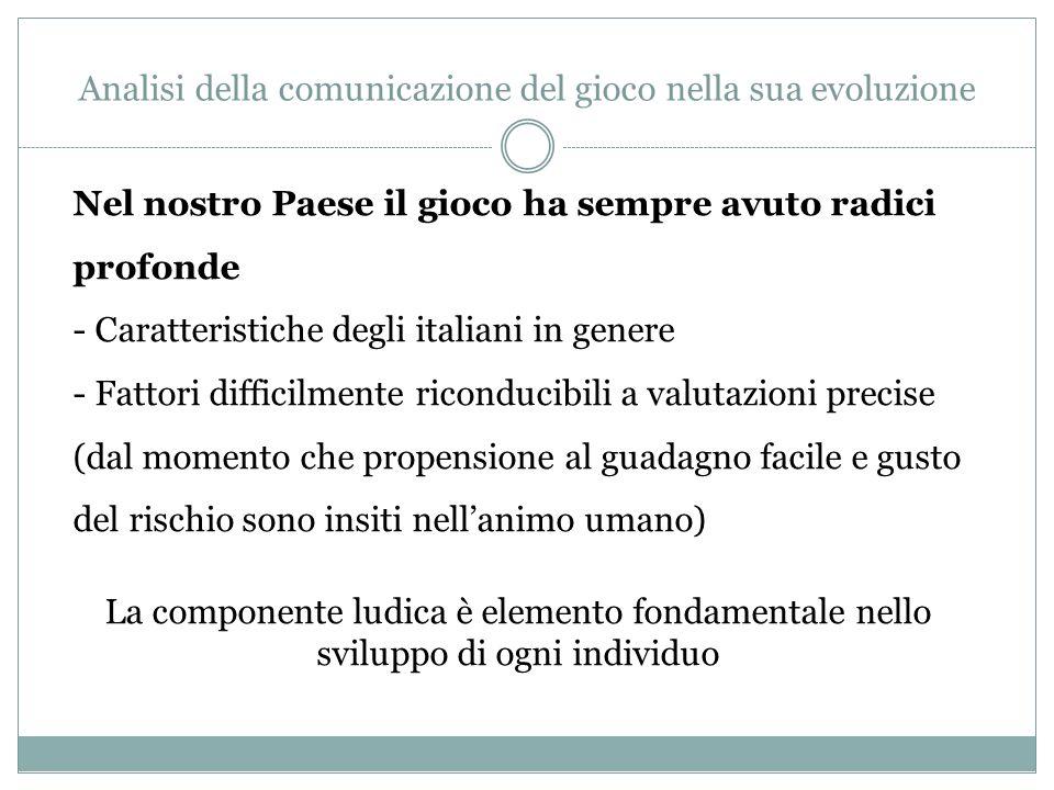 Analisi della comunicazione del gioco nella sua evoluzione In Italia il mercato moderno dei giochi nasce nel maggio 1946 con il concorso pronostici legato alle partite di calcio, il Totocalcio.