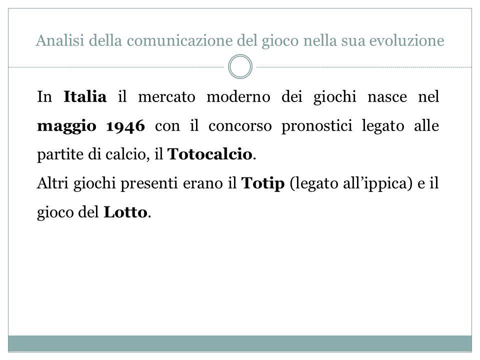 Analisi della comunicazione del gioco nella sua evoluzione In Italia il mercato moderno dei giochi nasce nel maggio 1946 con il concorso pronostici le