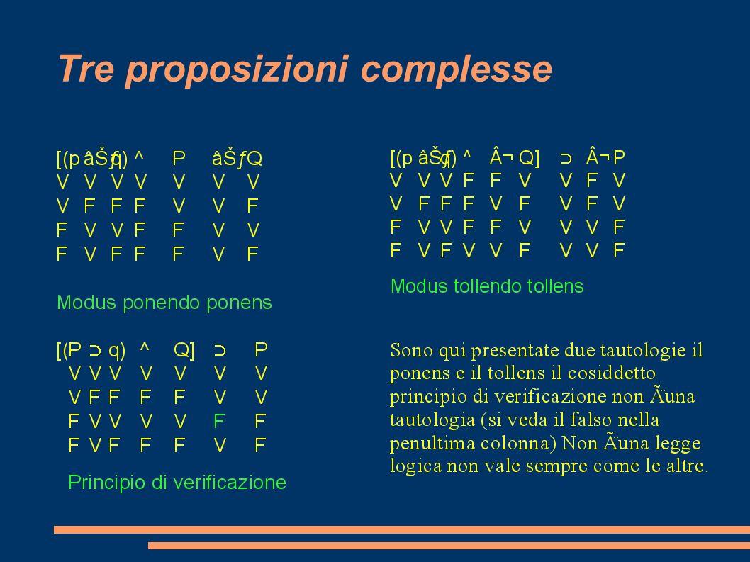 Tre proposizioni complesse