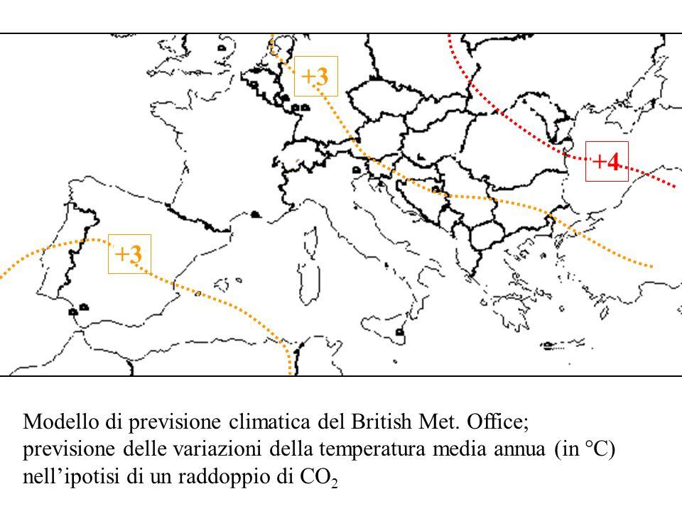 Modello di previsione climatica del British Met. Office; previsione delle variazioni della temperatura media annua (in °C) nellipotisi di un raddoppio