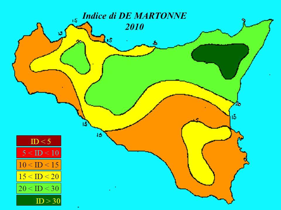 Indice di DE MARTONNE 2010 ID < 5 5 < ID < 10 ID > 30 20 < ID < 30 15 < ID < 20 10 < ID < 15
