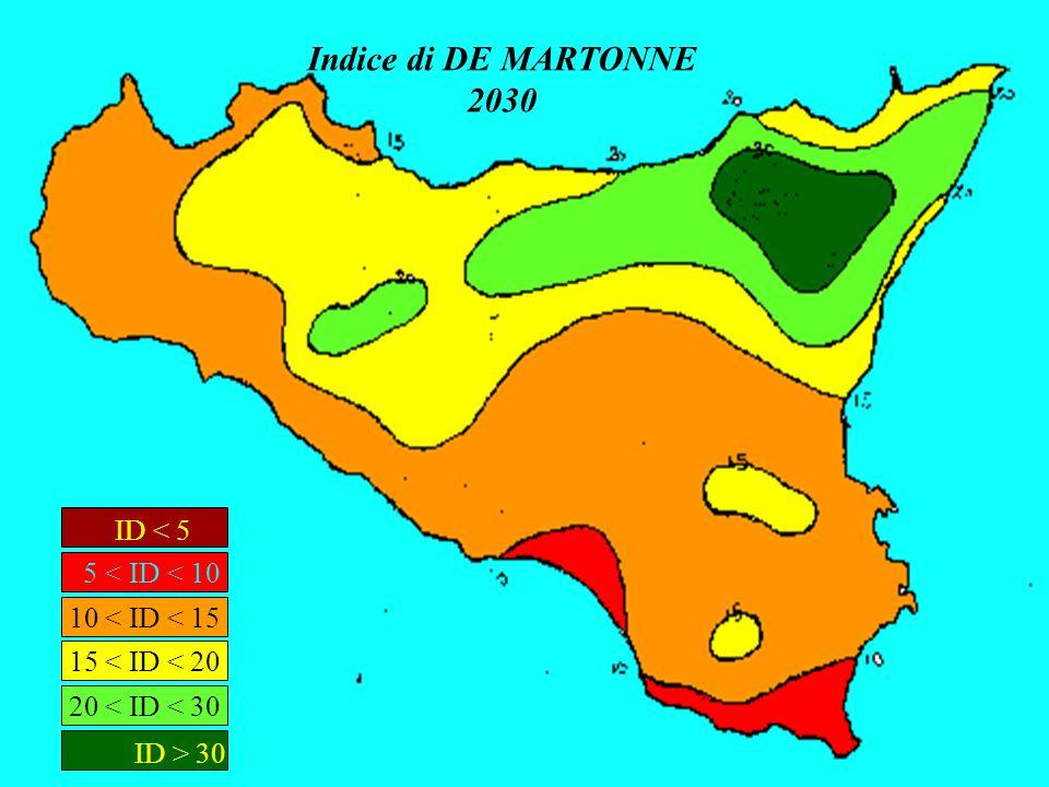 Indice di DE MARTONNE 2030 ID < 5 5 < ID < 10 ID > 30 20 < ID < 30 15 < ID < 20 10 < ID < 15