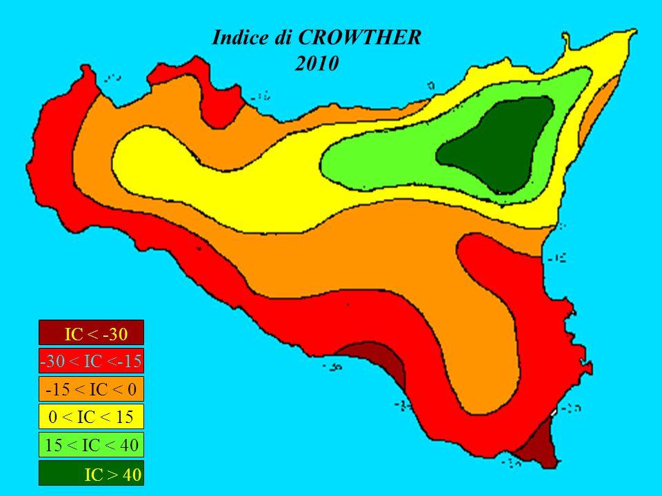 Indice di CROWTHER 2010 IC < -30 -30 < IC <-15 IC > 40 15 < IC < 40 0 < IC < 15 -15 < IC < 0