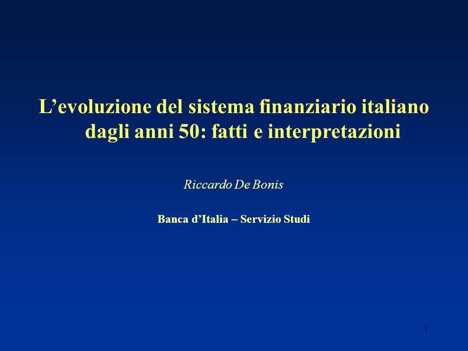 1 Levoluzione del sistema finanziario italiano dagli anni 50: fatti e interpretazioni Riccardo De Bonis Banca dItalia – Servizio Studi